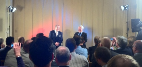 Roger Moore and Barry Norman on stage